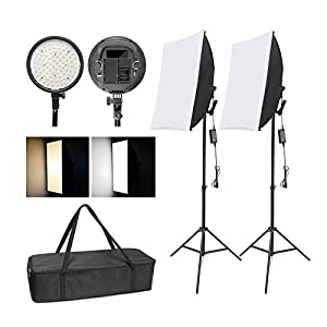 Flashandfocus.com 41Q3qllrU4L._SS300_ WISAMIC Photography LED Softbox Lighting Kit: 48W Bi-Color Dimmable LED Light Head with Battery Compartment and Light…