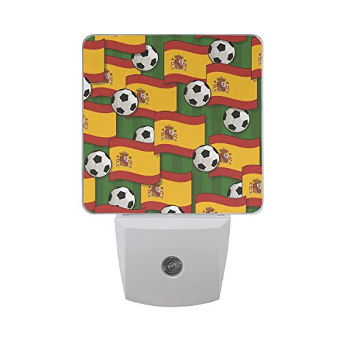 LED Night Light Spain Football Pattern Auto Senor Dusk to Dawn Night Light great for Bedroom bathroom living room Hallway any dark room, for child and adults by Saobao by Saobao