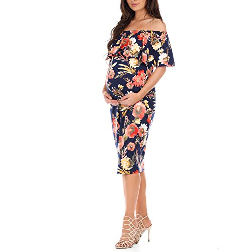 f92d2ad6798 Women s Off Shoulder Ruffle Maternity Dress by Mother Bee – Made in USA (S