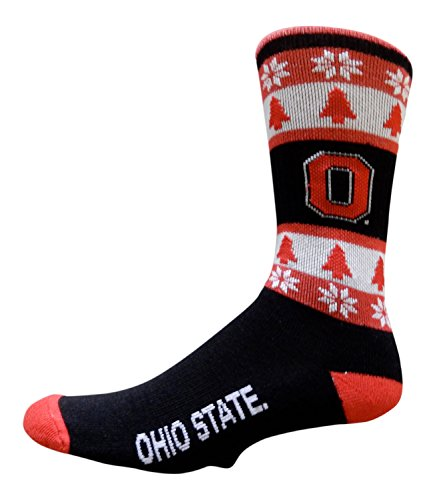 Ohio State Buckeyes Ugly Christmas Sweater by Topsox (Sock Size 10-13) (Ohio State Buckeyes Christmas Stocking)