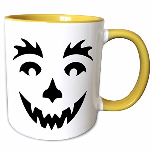 3dRose Anne Marie Baugh - Halloween - Cute Black Smiling Halloween Pumpkin Face - 11oz Two-Tone Yellow Mug (mug_216820_8) (Halloween Pumpkin Faces Pics)