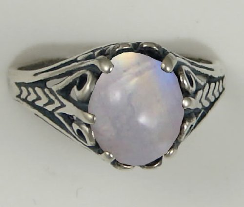 A Gorgeous Sterling Silver Filigree Ring Featuring a Beautiful Rainbow Moonstone Made in America