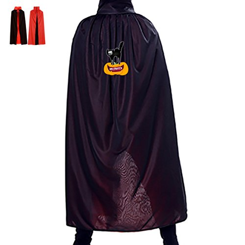 Black Scaredy Cat Wizard Cape Robe Vampire's Cowl for Kids Adults Halloween (Homemade Kids Catwoman Costume)