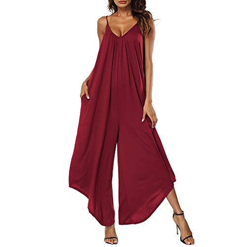 Nihewoo Camisole Jumpsuits for Women Summer Beach Rompers Sleeveless Backless Loose Long Trousers Playsuits Rompers Red ()