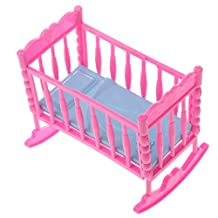 Dovewill Dolls Pink Baby Rocking Nursery Cradle Bed Bedroom FOR Barbie Kelly Dolls Dollhouse Furniture Accessory