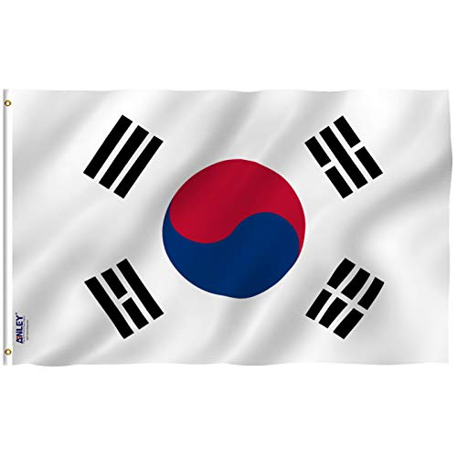Anley [Fly Breeze 3x5 Foot South Korea Flag - Vivid Color and UV Fade Resistant - Canvas Header and Double Stitched - S Korean National Flags Polyester with Brass Grommets 3 X 5 Ft