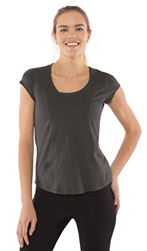(Yogatech Womens Perfect Soft Scoop Neck Short Sleeve Tee Moisture Wicking Tag Free T-Shirt Charcoal)