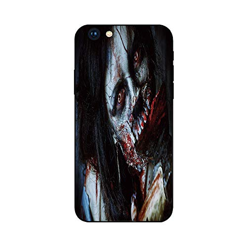 Phone Case Compatible with iphone6 Plus iphone6s Plus mobilephoneprotectingshell Brandnew Tempered Glass Backplane,Zombie Decor,Scary Dead Woman with Bloody Axe Evil Fantasy Gothic Mystery Hallowee]()