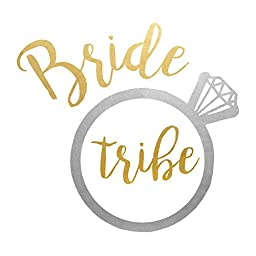 Bride Tribe set of 25 assorted premium waterproof metallic gold & silver wedding inspired temporary jewelry foil Flash Tattoos