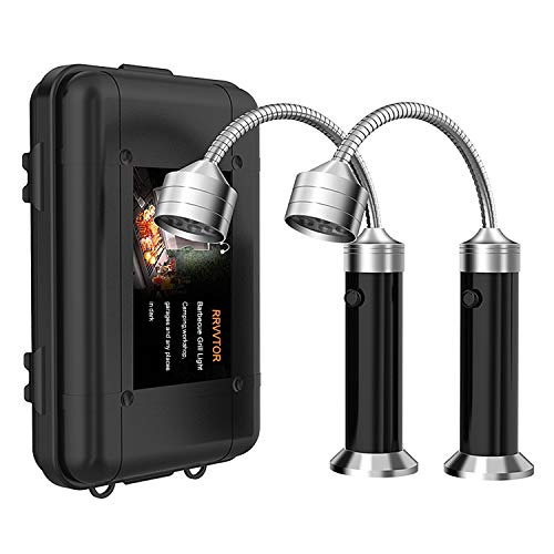 RRVVTOR Barbecue LED BBQ Grill Light Set Magnetic Flexible Gooseneck for Outdoor Garages Stall -Pack of 2