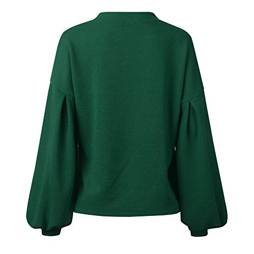 Fashion Neck Sweater Warm Knitted Round DOLDOA Blouse Womens Loosen Sleeve Lantern Green Solid Tops Long aWCWBqPRw