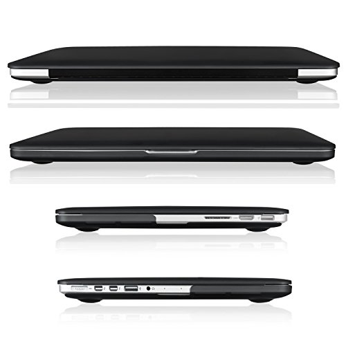 "TOP CASE - 2 in 1 Signature Bundle Rubberized Hard Case Compatible MacBook Pro 13.3"" with Retina Display (Old Gen. 2012-2015) Model: A1425 & A1502 and Keyboard Cover - Black"