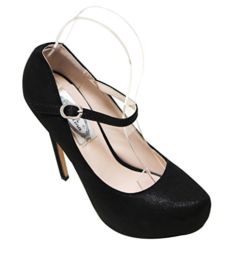 Italina SH1430 Womens almond toe mary jane squeaky high heel bright velvet stilettos Black