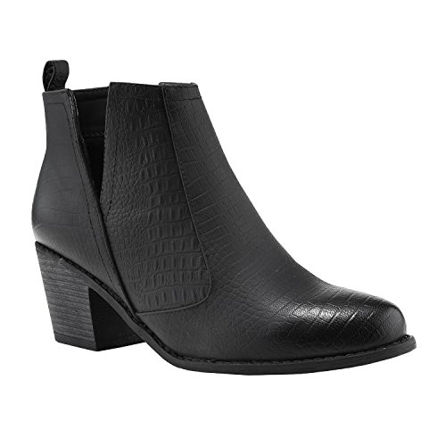 Fisace Chelsea Con Punta Cerrada Para Mujer Faux Apilable Low Heel Botín Occidental Black 01