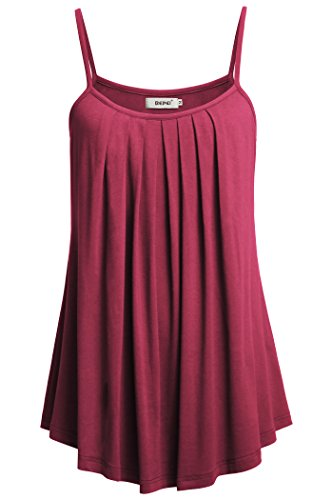 BEPEI Women Loose Fitting Tanks, Sleeveless Spaghetti Strap Cami Flowy Pleated Front Casual Go-Out Tops Cerise M - Top Draped Essential