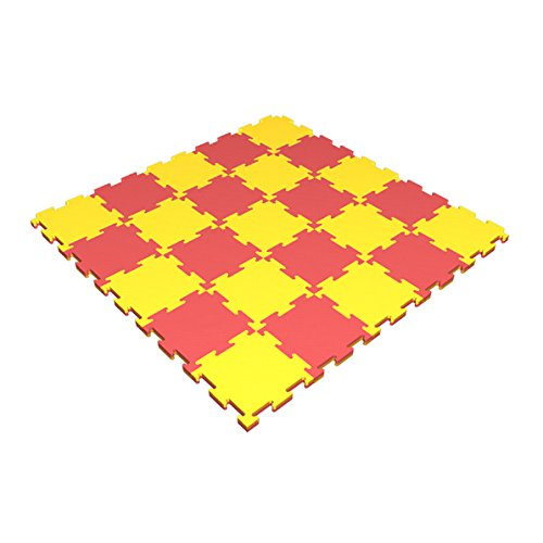 Floor Puzzle Soft Mat for Kids / 40'' x 40'' x 0.8'' / 25 Puzzel Connecting Mats / Playground Indoor Matting / Children's Assemble Sport Washable Mats for Home Play / Non Slip Thin Mat for front Hallway by sportkid