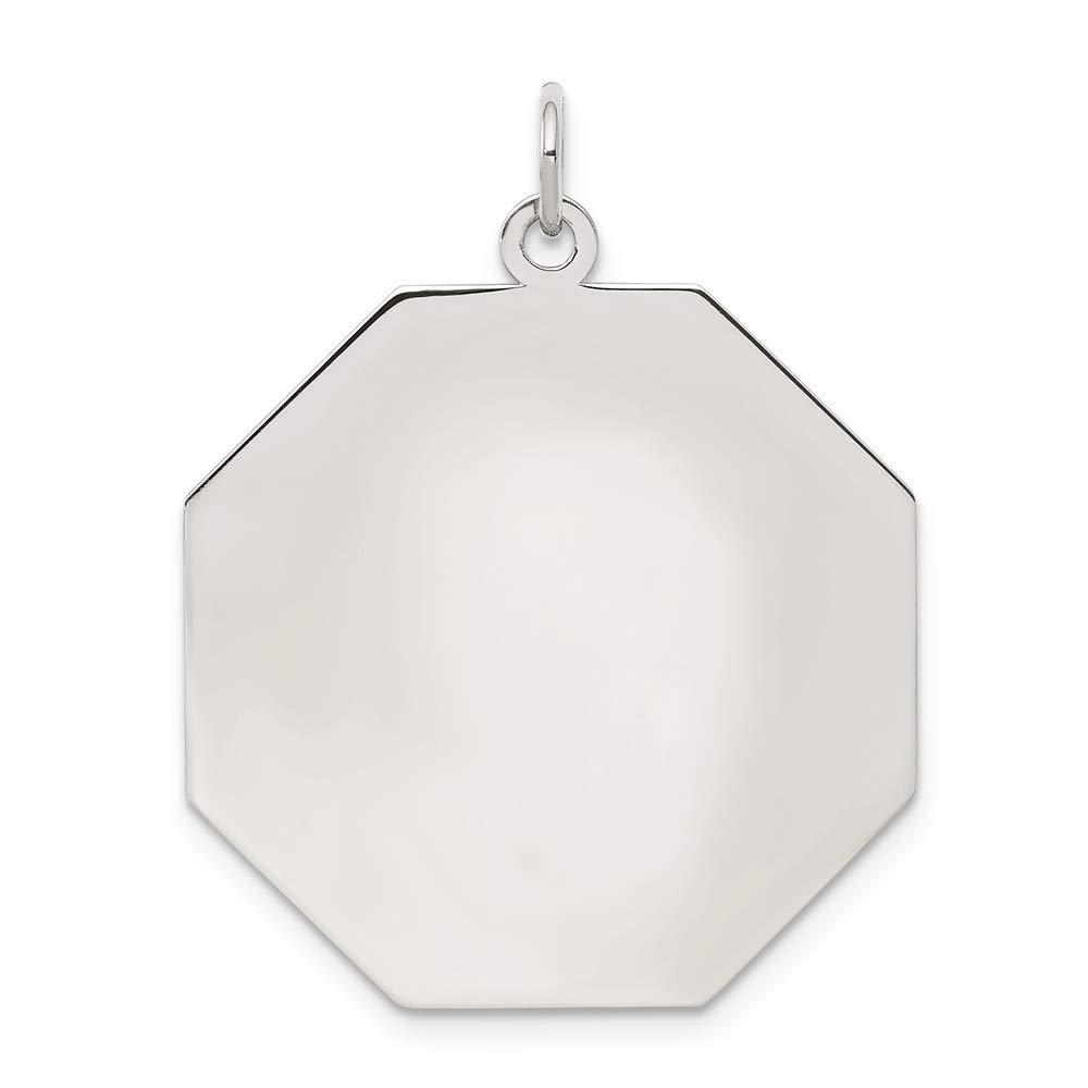 Sterling Silver Anti-Tarnish Treated Engraveable Octagon Polished Front Satin Back Disc Charm