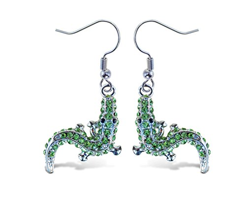 Puzzled Green Alligator Fish Hook Earrings, 1.5 Inch Fashionable & Elegant Jewelry Rhinestone Studded Earring for Casual Formal Attire Reptile Animals Themed Girls Teens Women Fashion Ear - Studded Alligator
