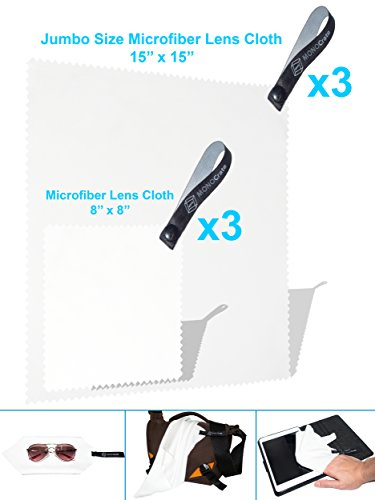 (6Pack) Jumbo 100% Lint-Free Microfiber Lens Cleaning Cloth - For Glasses, Camera Lens and Sunglass (Comes with Quick Release Strap) (3 White 15x15'', 3 White - Scratches From Remove Lens Sunglasses