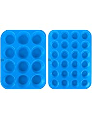 DXFUNLIFE Silicone Muffin Pan Cupcake Baking Cups Cake Molds Maker Cake Pops Bakeware Tins Tray Non Stick Pans Easy To Clean BPA Free (Large 12 Cups and Mini 24 Cups) Set of 2 Sky Blue