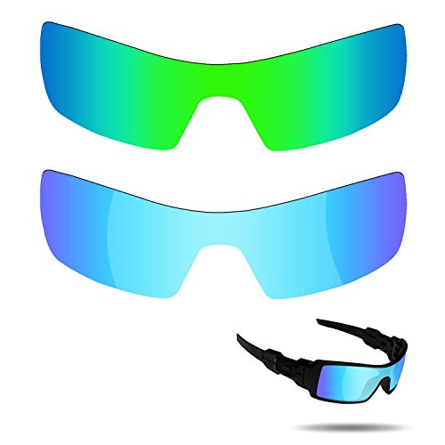 Fiskr Anti-saltwater Polarized Replacement Lenses for Oakley Oil Rig Sunglasses 2 Pairs Packed (Ice Blue & Emerald - Sunglasses Oil Oakley Rig