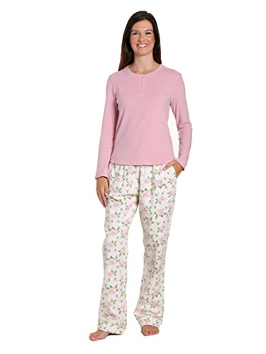 Noble Mount Women's Cotton Flannel/Thermal Lounge Set - Gardenia Cream-Pink - Small (Cream Mount)