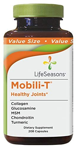 Mobili-T - Joint Pain Relief Supplement - Increase Range of Motion - Rebuild Joint Tissue - Healthy Knee and Back Support - Contains MSM, Collagen, Chondroitin - LifeSeasons (208 Capsules)