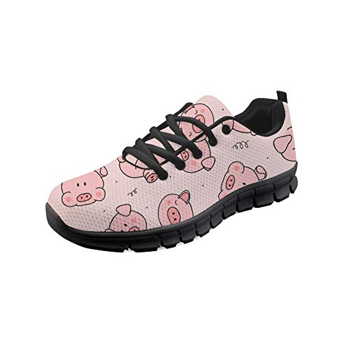 Bigcardesigns Fashion Sneakers Pig Printed Women City Walking Shoes Gym Fitness Running Sport Shoes Size 10 B(M) Women-EUR 40
