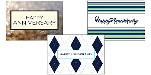 (Anniversary Greeting Card Assortment - VP1602. Business Greeting Cards Featuring Three Different Anniversary Greeting Cards. Box Set Has 25 Greeting Cards and 26 Bright White Envelopes.)