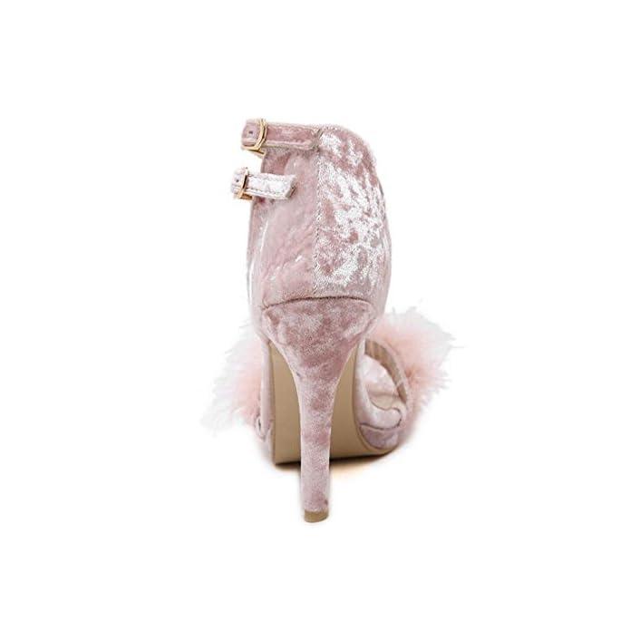 Glter Cinturino Alla Caviglia Delle Donne Pompe Della Peluche Di Alta Sandali Tacco A Punta Aperta Cono Hee Scarpe Nero Grigio Rosa Pink 40