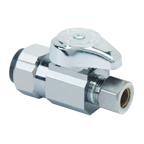 BrassCraft G2PS14X C1 Nominal Push Connect Inlet O.D. Compression Outlet Turn Straight Valve, 1/2 x 3/8'', Copper