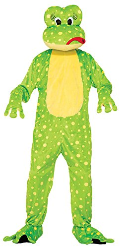 Freddy The Frog Mascot Costumes (UHC Unisex Freddy The Frog Mascot Jumpsuit Funny Theme Adult Halloween Costume, STD (40-42))