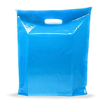 """Blue Merchandise Plastic Shopping Bags - 100 Pack 9"""" x 12"""" with 1.5 mil Thick 