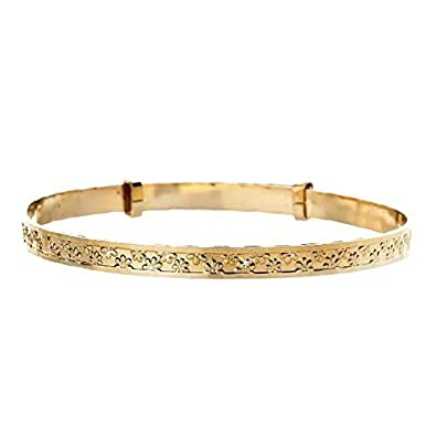 9ct Yellow Rolled Gold Flower Expander Bangle. Gift box