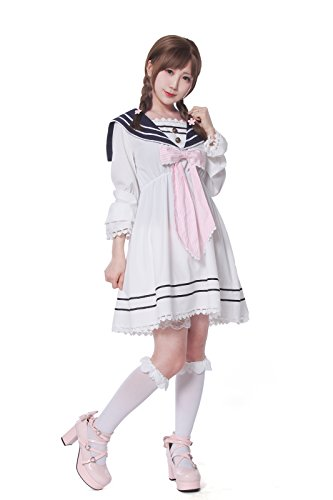 Women's Sailor Dress with Bow Tie Nautical Anime Cosplay Costumes Japanese School Uniform High Waist Set Lolita Suit Pink Medium -