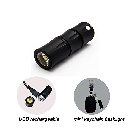 Mini Keychain Flashlight USB rechargeable with Built-in battery USB charging Bamboo light UK01,130lumen Bright Tiny LED Flashlight with 2 Modes, Waterproof (Black)