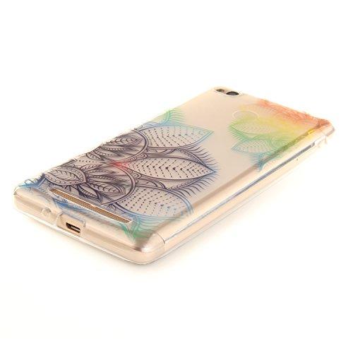Caja Transparente de Xiaomi Redmi 3, MAGQI Flexible y Durable del gel de TPU a Prueba de Choques [Anti-Rasguñe] Tope de la Absorción y, [Pluma Negra Libre de la Aguja]-Plum Tree Flores
