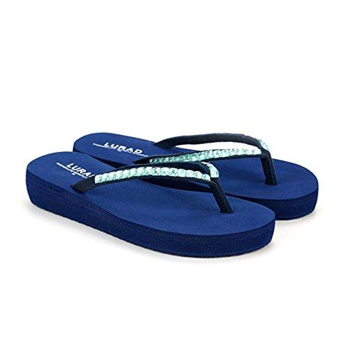 Sandali Infradito da CHENGXIAOXUAN Medio Sandali Tacco Fashion Spiaggia Royalblue Crosta in Infradito Estivi Sandali Casual Donna Sandali Antiscivolo Spessi da wRxaX18Rq