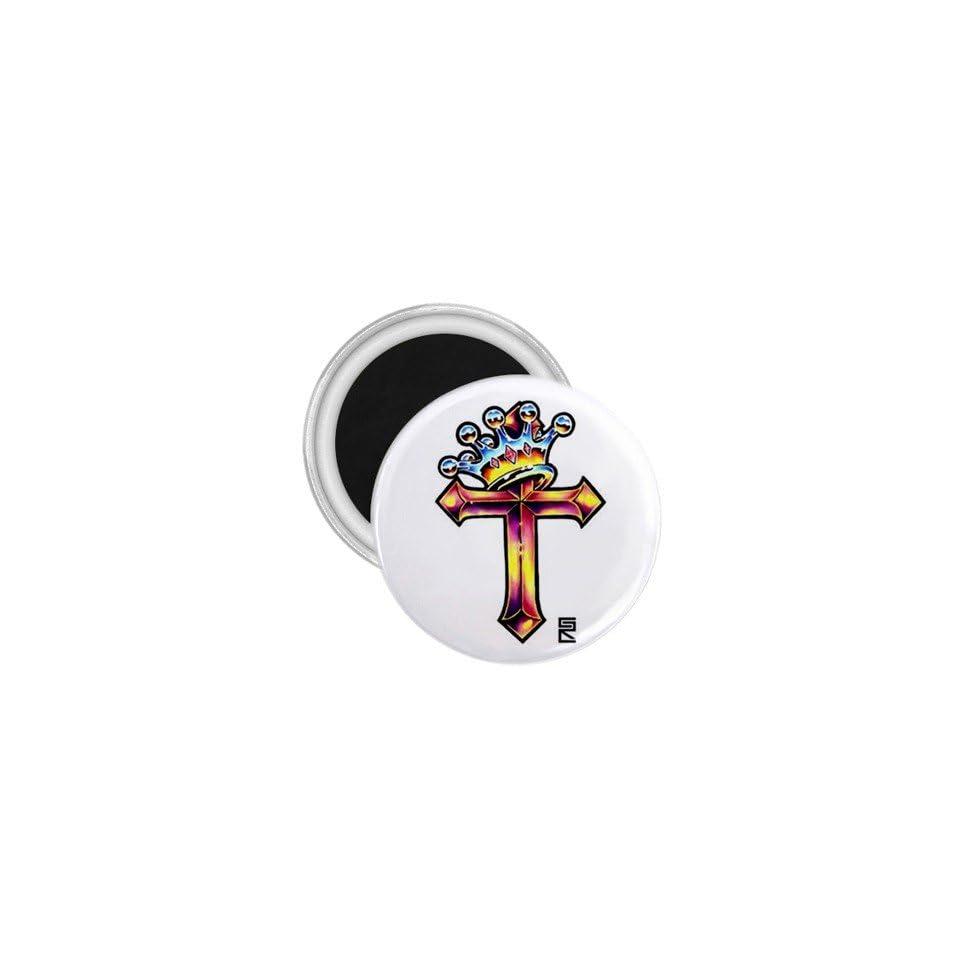 Tattoo Cross King Art Fridge Souvenir Magnet 2.25