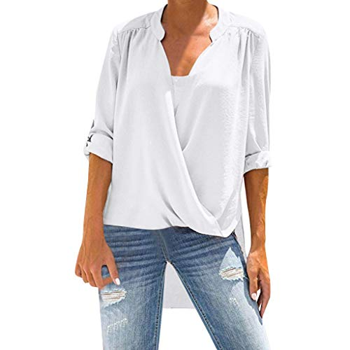 Xinantime Womens Casual T-Shirt Long Sleeve V-Neck Solid Blouse Tops Fold Tunic Tops ()