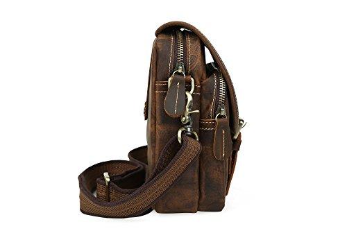 Tiding Uomo Annata Classico Vera Pelle Crazy Horse Tempo libero Casuale cartella Flap-over Zipper Buckle Belt Pouch Borsa a tracolla Marrone