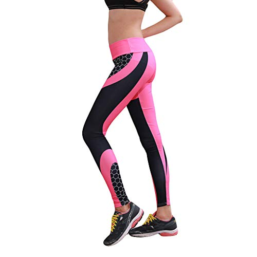 CCatyam Yoga Pants for Women, Trouser Print Fitness High Waist Tight Sports Running Sexy Fashion Hot Pink ()