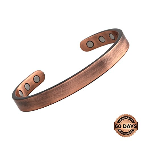 Reevaria - GUARANTEED 99.9% PURE Copper Plain Magnetic Cuff Bracelet For Men Women, with 8 Magnets 3500 Gauss- Recovery and Pain Relief - Arthritis, Golf and other sports Injuries, Carpal Tunnel