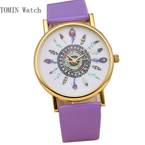 TOMIN Women Fashion Vintage Feather Dial Leather Band Quartz Analog Wrist Watches (Purple)