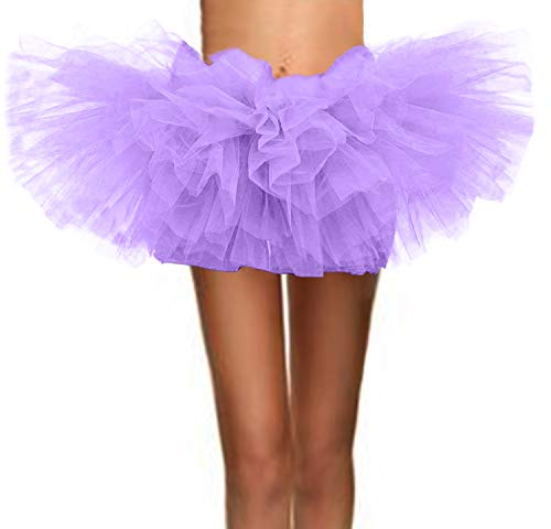 ASSN Women's Classic 80s Mini Puffy Tutu Halloween Run Bubble Ballet Skirt 6-Layered Lavender -