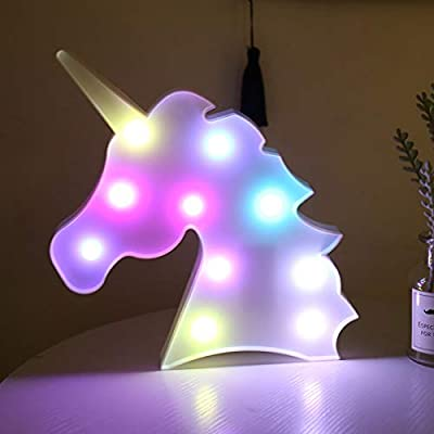 Bivisen Unicorn LED Night Light, Led Unicorn Lamps, Battery Opearted Table Led Lights Wall Decoration for Party/Wedding/Kid Birthday Party/Girls Bedroom/Living Room/Christmas (Rainbow Head)