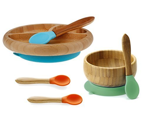 Maven Gifts  Avanchy Bamboo Infant Feeding Set Featuring Stay Put Suction Bowl   Stay Put Divided Suction Plate   4 Feeding Spoons