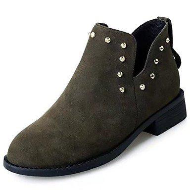 RTRY Zapatos De Mujer Suede Caída De La Moda Botas Botas Bajo El Talón Puntera Redonda Cremallera Para Casual Negro Verde US6 / EU36 / UK4 / CN36