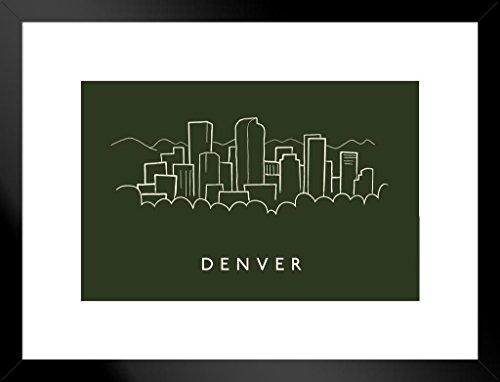 Denver Broncos Pencil - Denver City Skyline Pencil Sketch Art Print Matted Framed Poster by ProFrames 26x20 inch