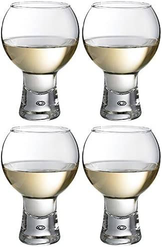 Set Of 4 41cl Thick Stem Modern Wine Glasses Amazon Co Uk Kitchen Home